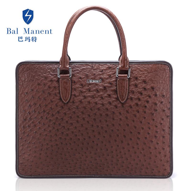 定制 巴瑪特 男士鴕鳥***包 歐美輕奢新款 商務手提包公文包大包