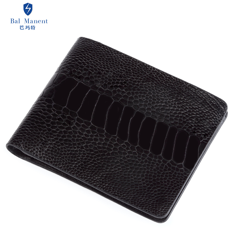 巴瑪特 鴕鳥爪***橫款皮夾韓版超薄短款鴕鳥皮錢夾定制男士錢包