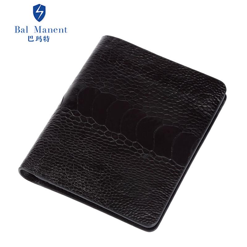 巴瑪特 男士短款錢包個性鴕鳥腳***豎款錢夾鴕鳥皮情侶定制皮夾