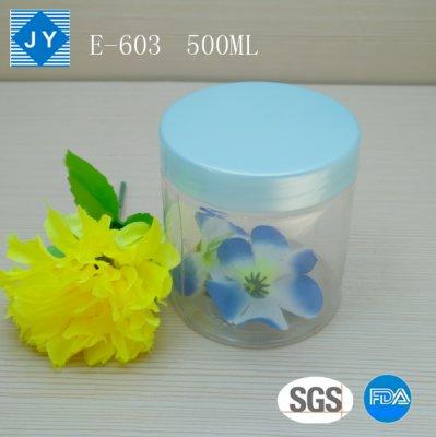 500ml 16oz transparent jar clear jar round cylinder plastic jar