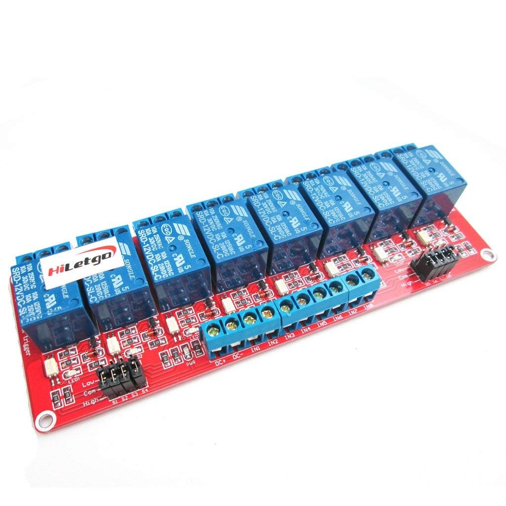 12V 8 Channel Relay Module With Optocoupler High And Low Level Trigger