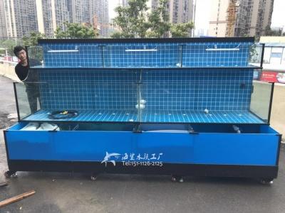 岳阳超市海鲜池鱼池玻璃缸定做 海鲨水族工厂免费设计
