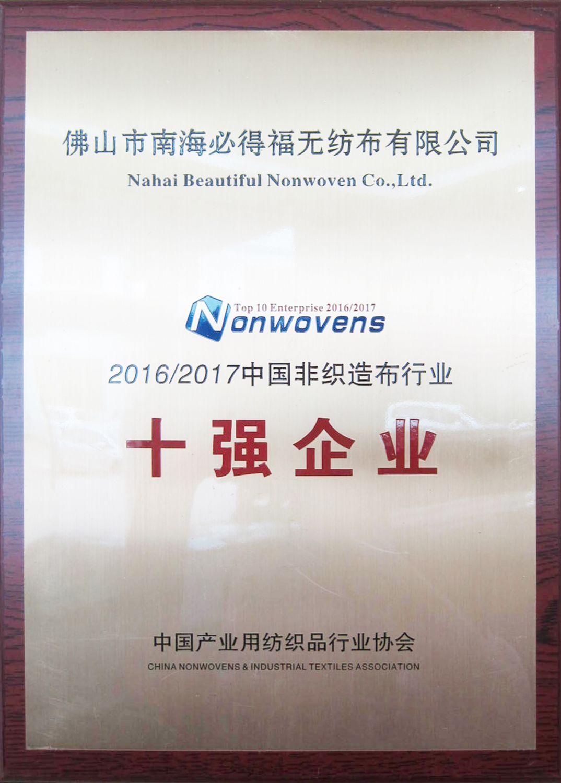 中国非织造布行业十强企业