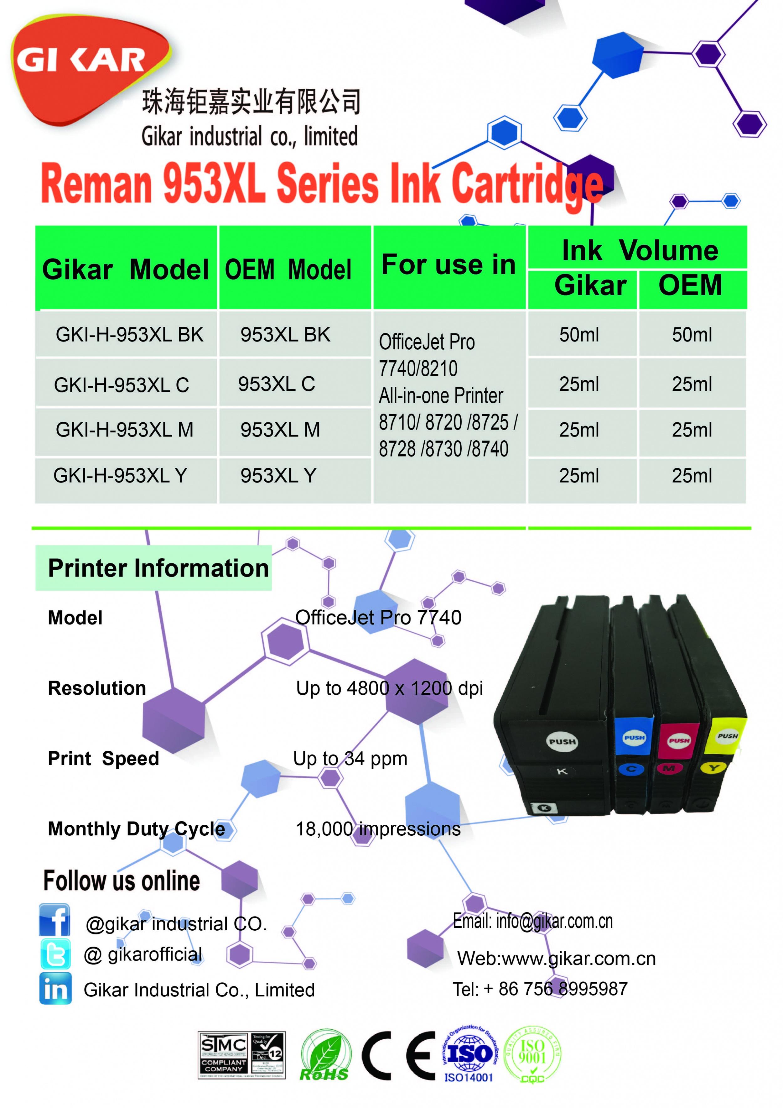 钜嘉实业成功推出再生953XL系列带头墨盒