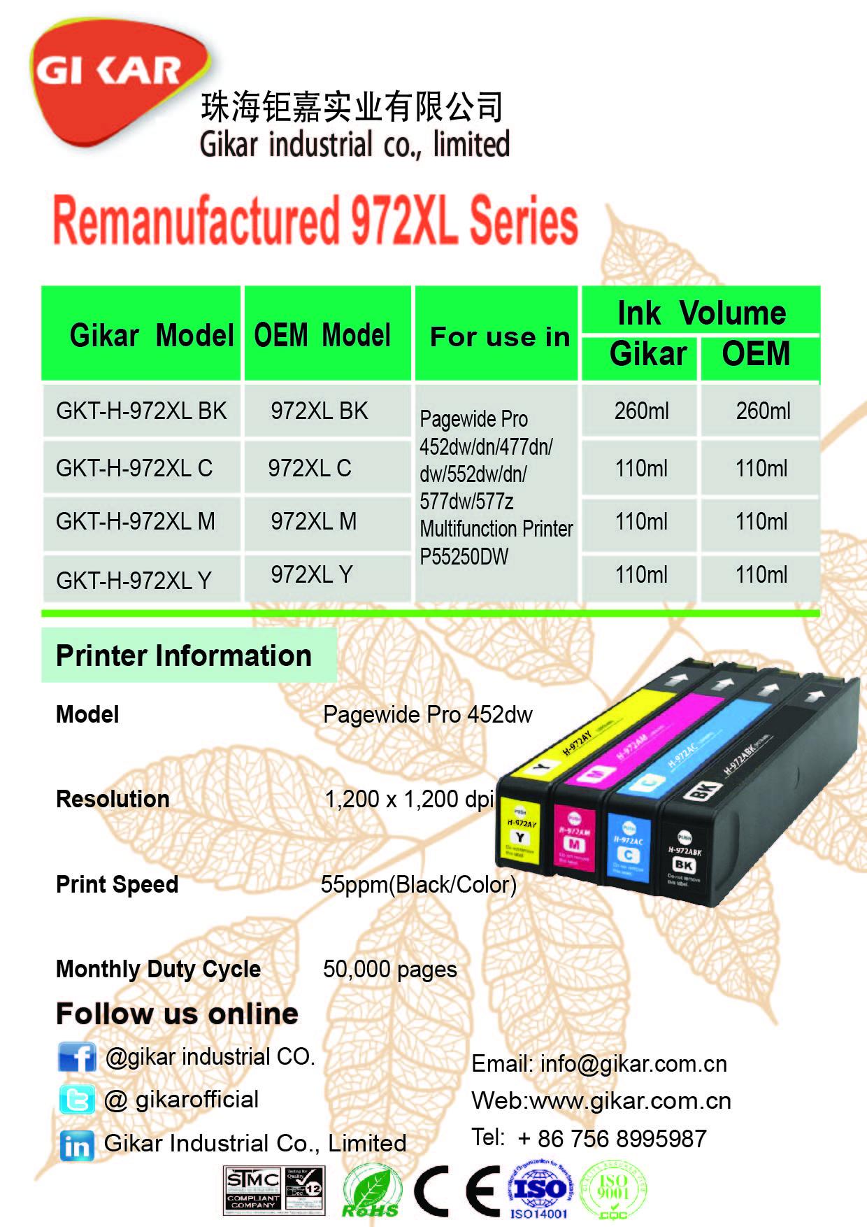 钜嘉实业成功推出再生972XL系列墨盒