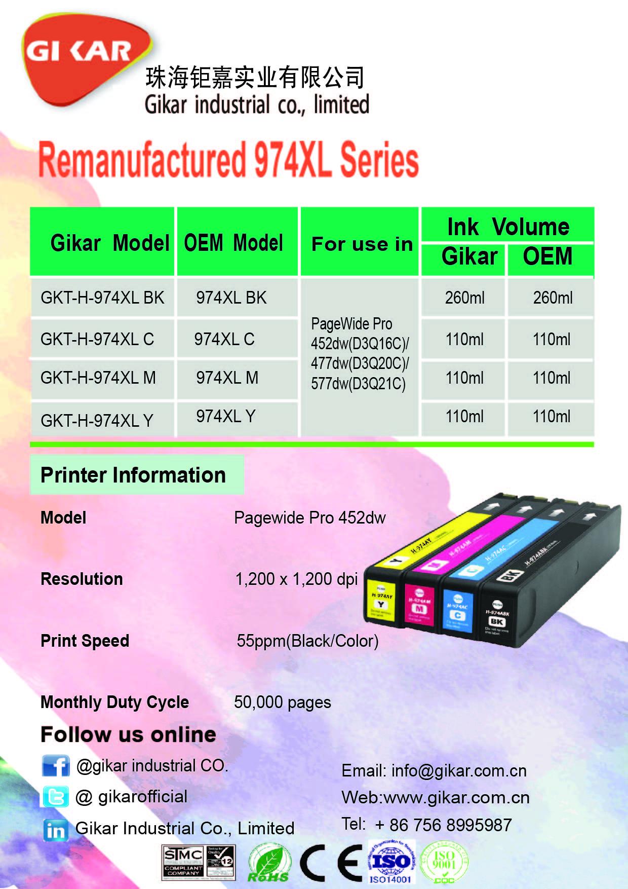 钜嘉实业成功推出再生974XL系列墨盒