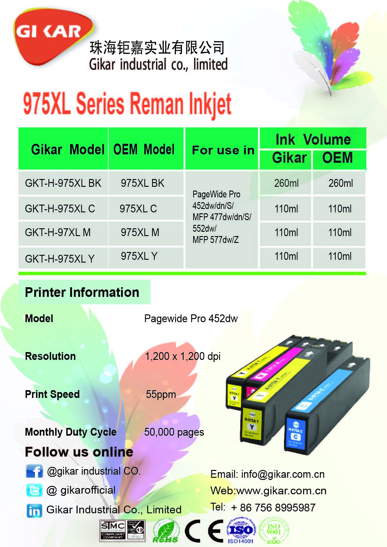 钜嘉实业成功推出再生975XL系列墨盒