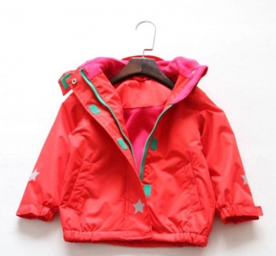 J02 - Kids Solid Colour Waterproof Jacket - Red
