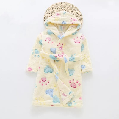 G01 Kids Paw Dressing Gown - Yellow