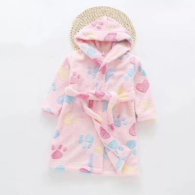 G01 Kids Paw Dressing Gown - Pink