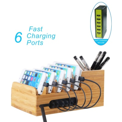 Bumboo Charging station with 6 ports USB charger and stand organizer
