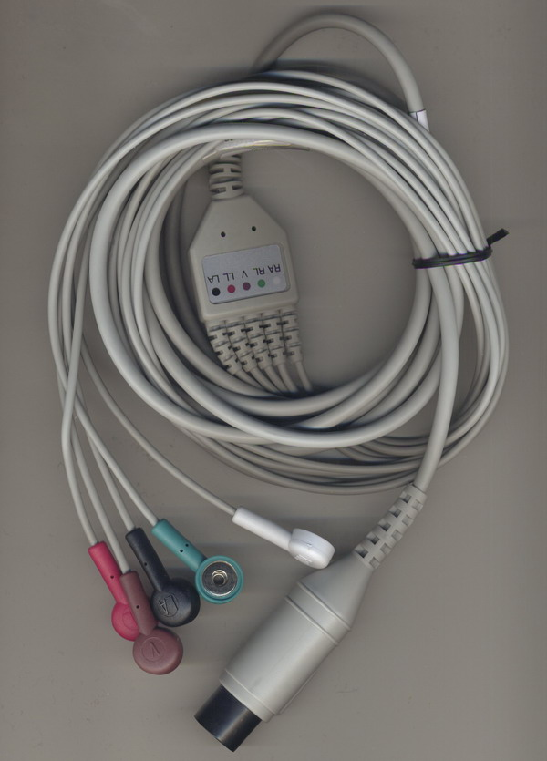 5-leads ECG cable-America