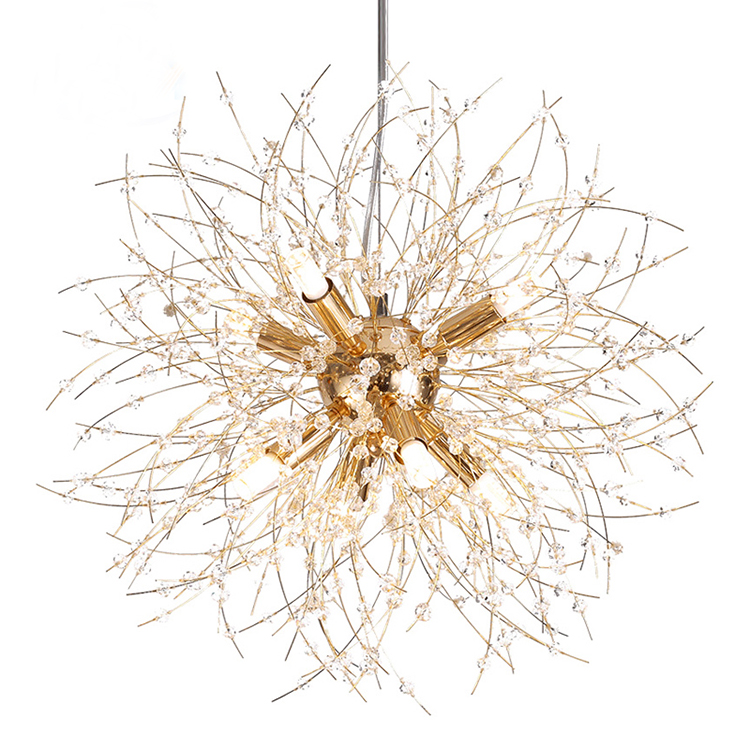 Silver Dandelion Branch Chandelier With Small Crystal beads Decoration From Dining Room