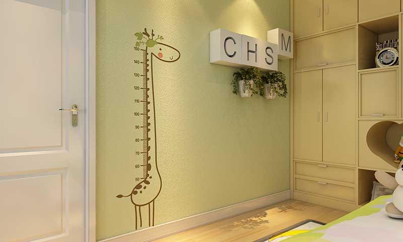 这是贝壳粉儿童房量身高图案
