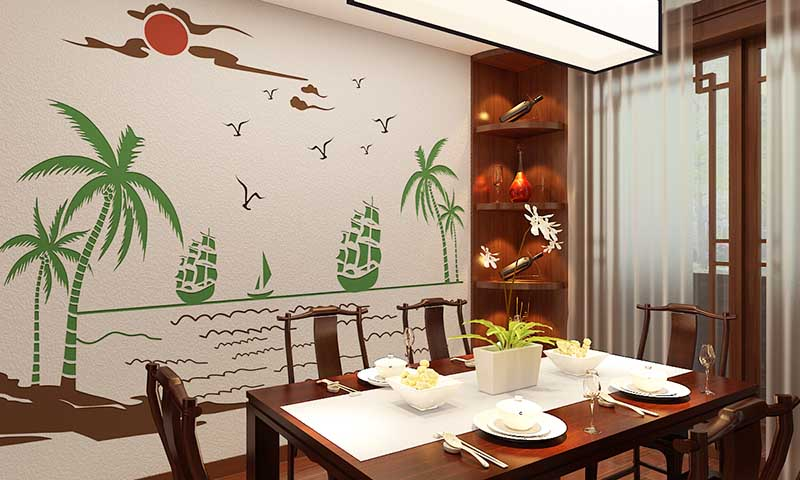 这是贝壳粉餐厅装修效果图