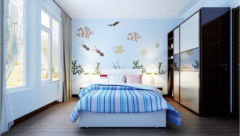 这是贝壳粉儿童房背景墙