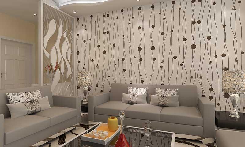 这是贝壳粉客厅墙面效果图