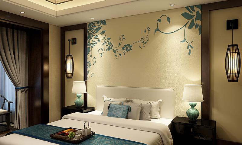 贝壳粉卧室床头图案12