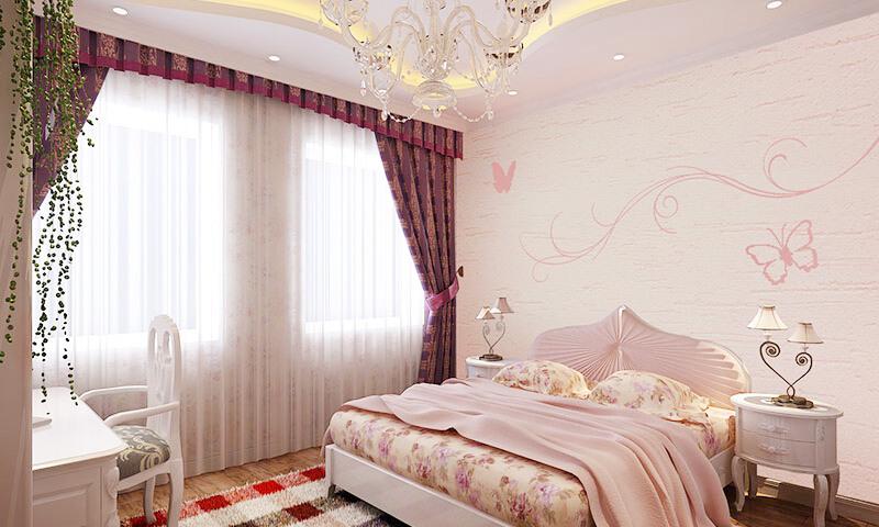 贝壳粉卧室喷墙的图案