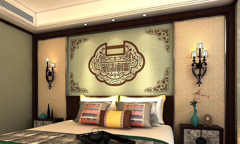 贝壳粉卧室床头图案6