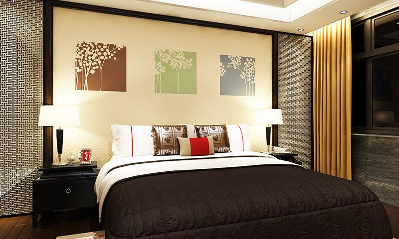 贝壳粉卧室床头图案2