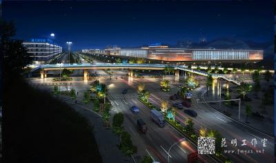 建筑桥梁城市鸟瞰照明设计夜景效果图