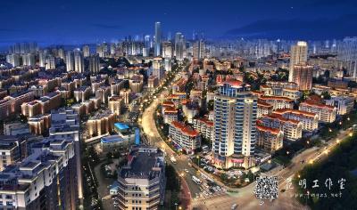 城市鸟瞰夜景效果图