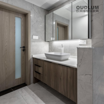 WYG1902.全屋装修定制 木纹双饰面柜门 台上盆卫浴柜