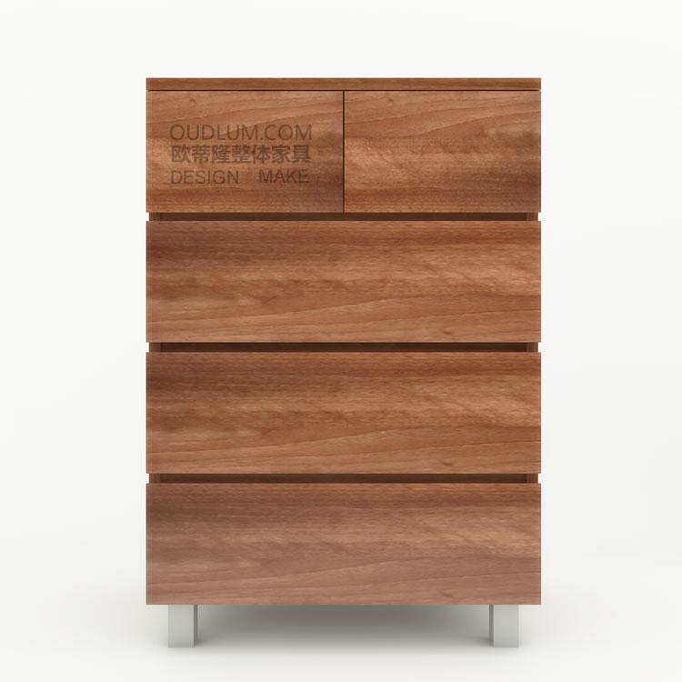 欧蒂隆简约现代实木板式收纳储物家具定制日式五斗柜橱R624