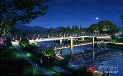 景观桥梁照明设计夜景效果图