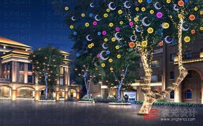 景观夜景节日照明设计夜景效果图