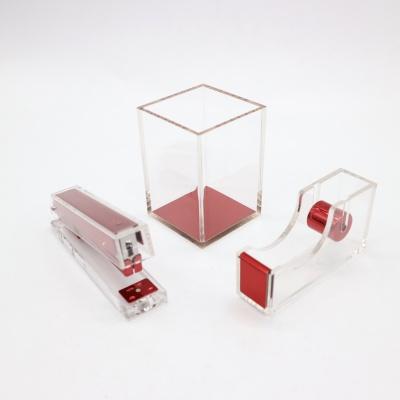 红色亚克力三件套办公礼品文具套装