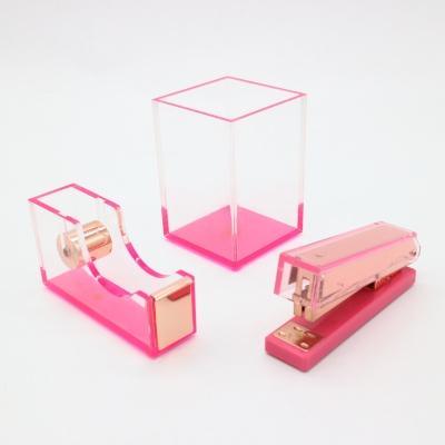 粉色亚克力三件套办公礼品文具套装