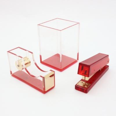 红色透明亚克力三件套办公礼品文具套装