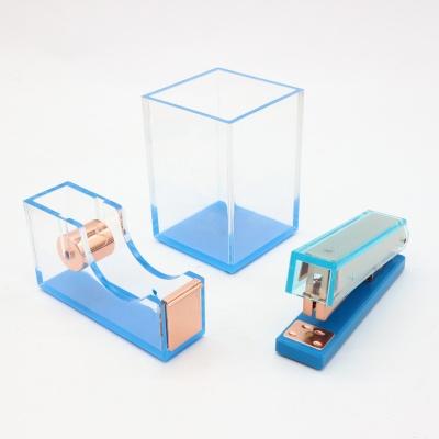 蓝色透明亚克力三件套办公礼品文具套装