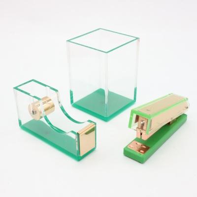 绿色透明亚克力三件套办公文具套装