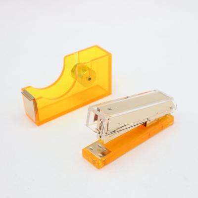 荧光橙透明亚克力两件套办公礼品文具套装