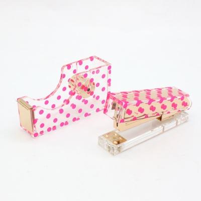 粉色波点亚克力两件套办公礼品文具套装