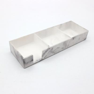 大理石纹亚克力三格收纳盒