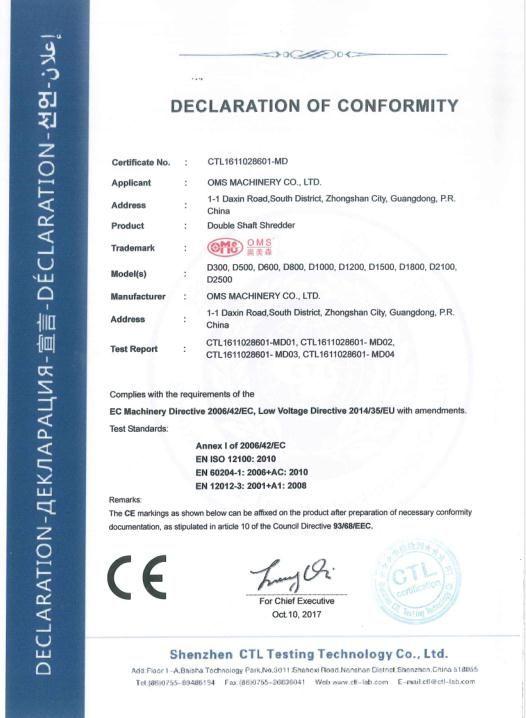 雙軸破碎機CE認證證書