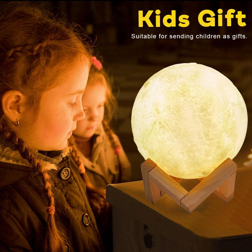 爆款礼品定制 遥控月球灯3D打印拍拍灯小夜灯LED充电触控 月亮灯