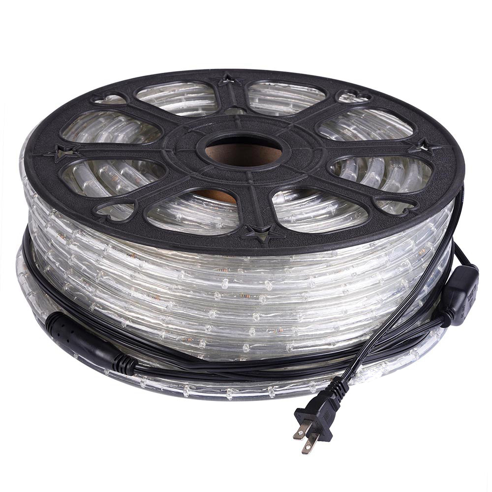 LED Rope Light, Includes Rope Light Clips and Power Cord, 120V, ½ Inch, 2-Wire (165 ft, Warm White)
