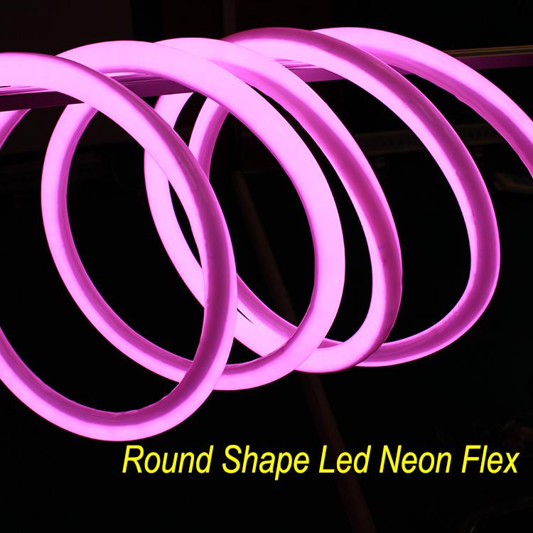 16mm Yellow 360 Degree Round LED Neon Strip Flexible Light 120Leds/M