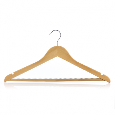 Solid Natural Finish Wooden Suit Hanger with Non-slip Pant Bar