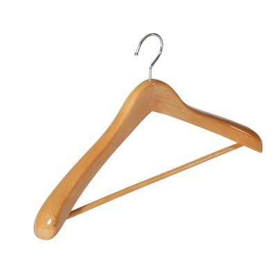 Contoured Deluxe Wooden Suit Hanger w/Non-Slip Bar
