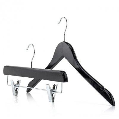 Black&white Wooden Top & Clip Clothes Hangers Set Premium Quality Wardrobe Pack
