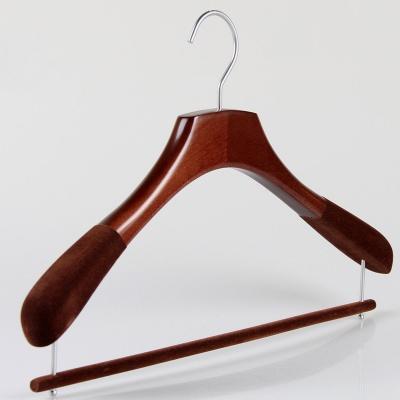 luxury Anti-slip brown wood hanger with velvet trousers bar