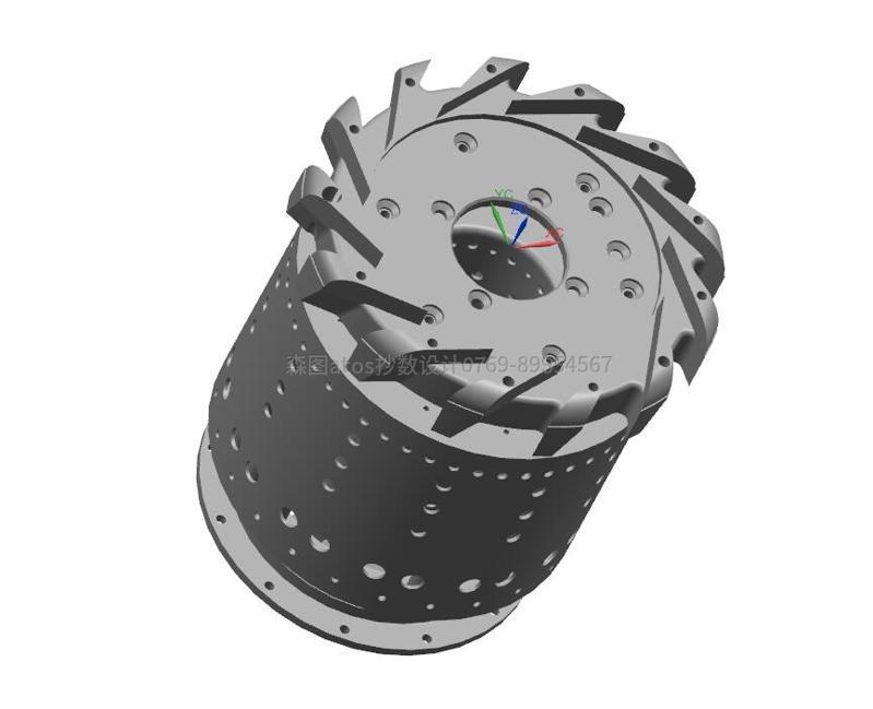精密电机零件进行抄数蓝光扫描,并进行3D建模