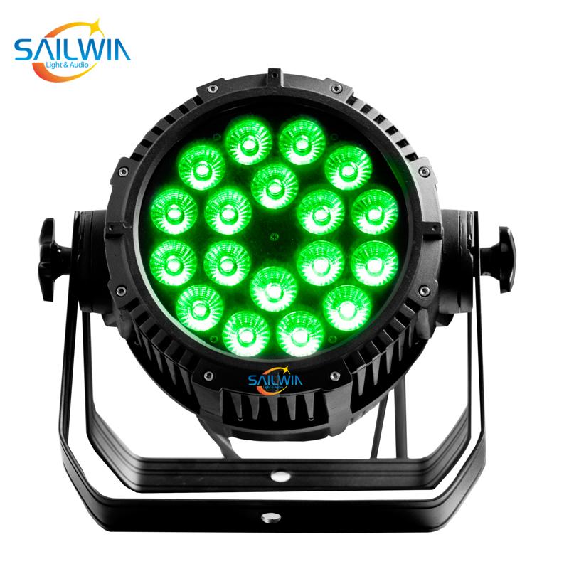 DMX512 Disco Lighting Equipment 18 x 15W RGBWA 5in1 IP65 Waterproof LED Par Light