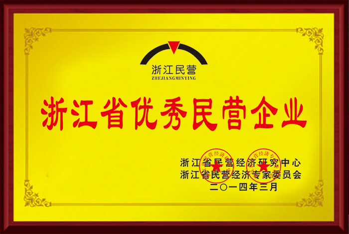浙江省优秀民营企业铜牌